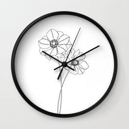 Botanical illustration line drawing - Anemones Wall Clock