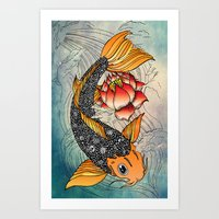 koi Art Prints featuring Koi by Tuky Waingan
