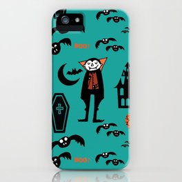 Cute Dracula and friends teal #halloween iPhone Case