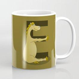 Pony Monogram Letter E Coffee Mug