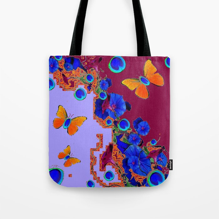 Blue Eyes Gold Butterflies  Lilac & Burgundy Color Tote Bag