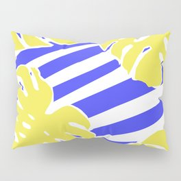 Monstera Leaf - Matisse Inspired Tropical Collage Pattern Pillow Sham