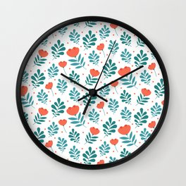 Floral Leaf Pattern Wall Clock