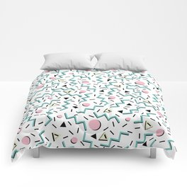 Back to the 80's eighties, funky memphis pattern design Comforters