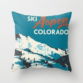 Vintage Ski Aspen Poster Throw Pillow
