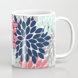 Flower Burst Petals Floral Pattern Navy Coral Mint Gray Coffee Mug