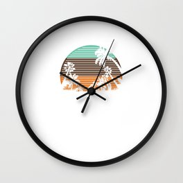 Vintage Retro San Diego Palm Trees Beach Summer Wall Clock