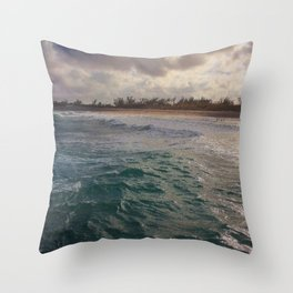 Stormy Coastline, rain clouds and sunlight Throw Pillow