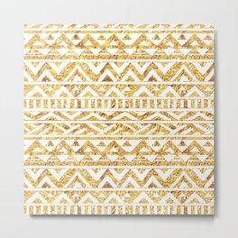 Aztec Inspired Golden Pattern Metal Print