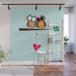Love owls on the branch, blue background Wall Mural
