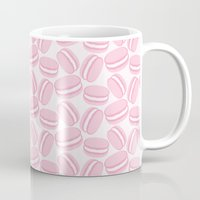 macaroon Mugs featuring French Macaroon Pattern - Paris Art - Pink Macaron by French Macaron Art Print and Decor Store