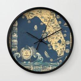 old florida map Wall Clock