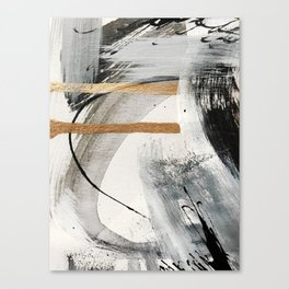 Armor [7]: a bold minimal abstract mixed media piece in gold, black and white Canvas Print