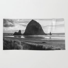 Cannon Beach Sunset - Black and White Nature Photography Beach Towel