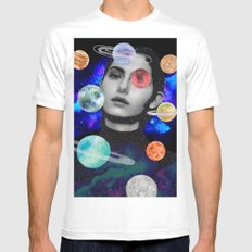 spaced out. MEDIUM Mens Fitted Tee White