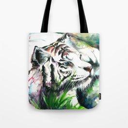 WHITE TIGER WATERCOLOR Tote Bag