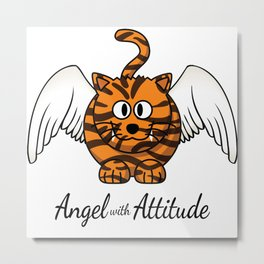 Funny Angel Tiger With Attitude Cat Lover Metal Print
