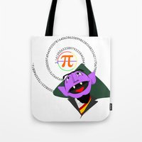 pi Tote Bags featuring Count Pi by tuditees