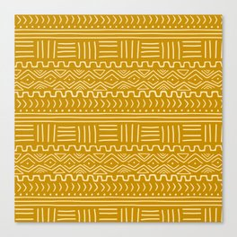 Mud Cloth on Mustard Canvas Print