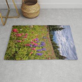Colorado Summer Wildflowers Vail Shrine Ridge Rocky Mountain Landscape Rug