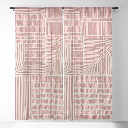 Digital Stitches whole beige + red Sheer Curtain