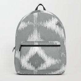 Elegant White Gray Retro Circles Squares Ikat Pattern Backpack