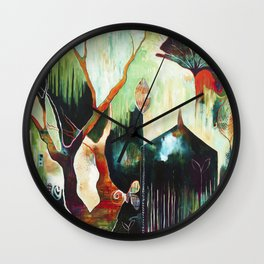 """Temple Lilies"" Original Painting by Flora Bowley Wall Clock"