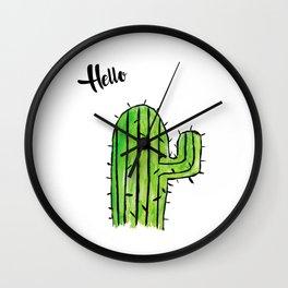 Hello Cactus Wall Clock