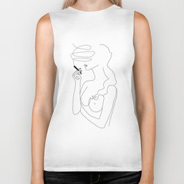 Woman Smoking Biker Tank
