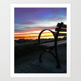 Bench at the Beach Art Print