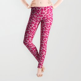Leopard Print in Pastel Pink, Hot Pink and Fuchsia Leggings