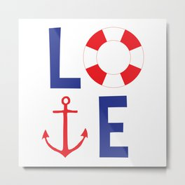 LOVE nautical red, white and blue - Anchor - Life Savor Metal Print