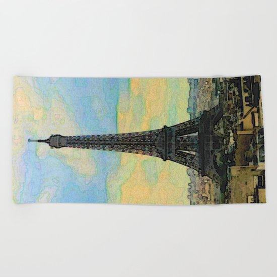 Watercolor Dream of Paris Beach Towel