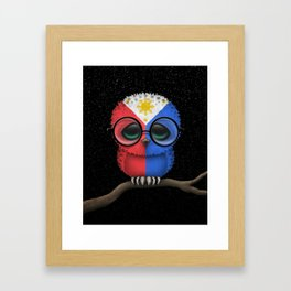 Baby Owl with Glasses and Filipino Flag Framed Art Print