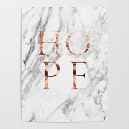 Marble rose gold hope Poster