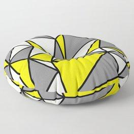 Geometric Scandinavian I - Yellow, Charcoal, black And Cream Floor Pillow