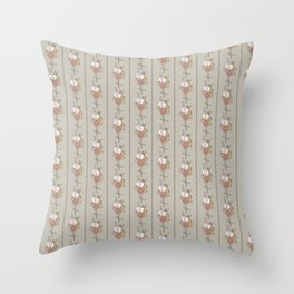 Straw Flowers and Stripes - Grey Green Throw Pillow