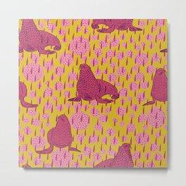 Seals- Pink on Yellow Metal Print
