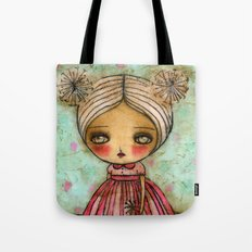 Dandelion Girl in Red And Pink Tote Bag