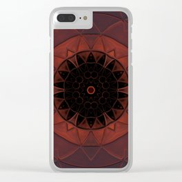 Orange Flower Motif Clear iPhone Case