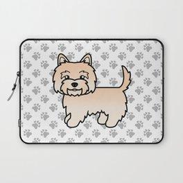 Cute Cream Cairn Terrier Dog Cartoon Illustration Laptop Sleeve