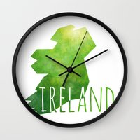 ruben ireland Wall Clocks featuring Ireland by Stephanie Wittenburg