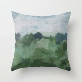 Sky Blue and Sage Green Abstract Painting, Modern Wall Art Print, Rural Country Farm Rustic Throw Pillow