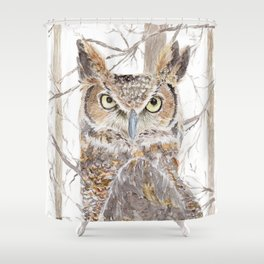 """Watercolor Painting of Picture """"Owl in the Forest"""" Shower Curtain"""