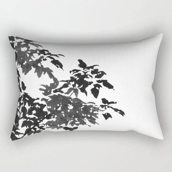 Leaves Silhouette - Black & White Rectangular Pillow