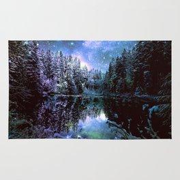 A Cold Winters Night : Violet Teal Green Winter Wonderland Rug