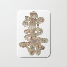 Chinese 'Shou' longevity character - silk embroidered calligraphy - lucky cursive symbol Bath Mat