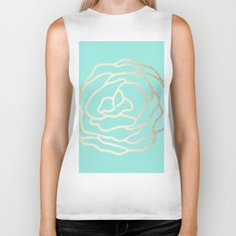 Flower in White Gold Sands on Tropical Sea Blue Biker Tank