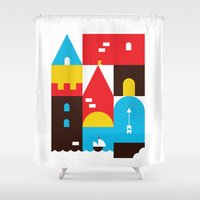 castle Shower Curtains featuring Castle by koivo
