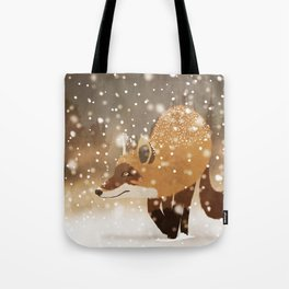 Sneaky smart fox in snowy forest winter snowflakes drawing Tote Bag